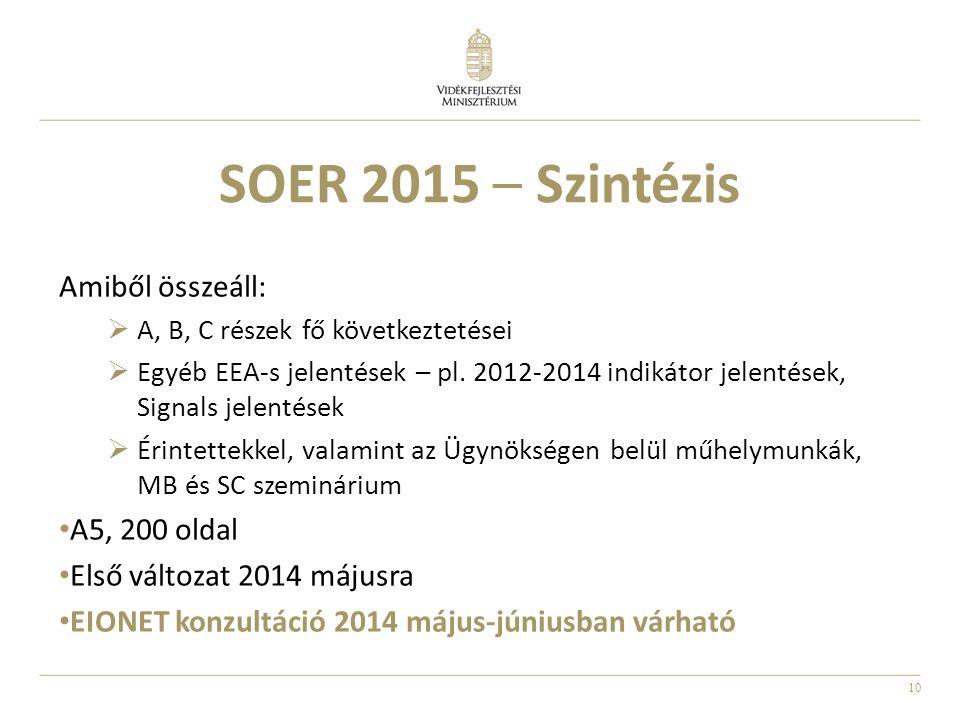 10 SOER 2015 – Szintézis Amiből összeáll:  A, B, C részek fő következtetései  Egyéb EEA-s jelentések – pl. 2012-2014 indikátor jelentések, Signals j