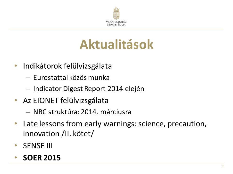 2 Aktualitások Indikátorok felülvizsgálata – Eurostattal közös munka – Indicator Digest Report 2014 elején Az EIONET felülvizsgálata – NRC struktúra: