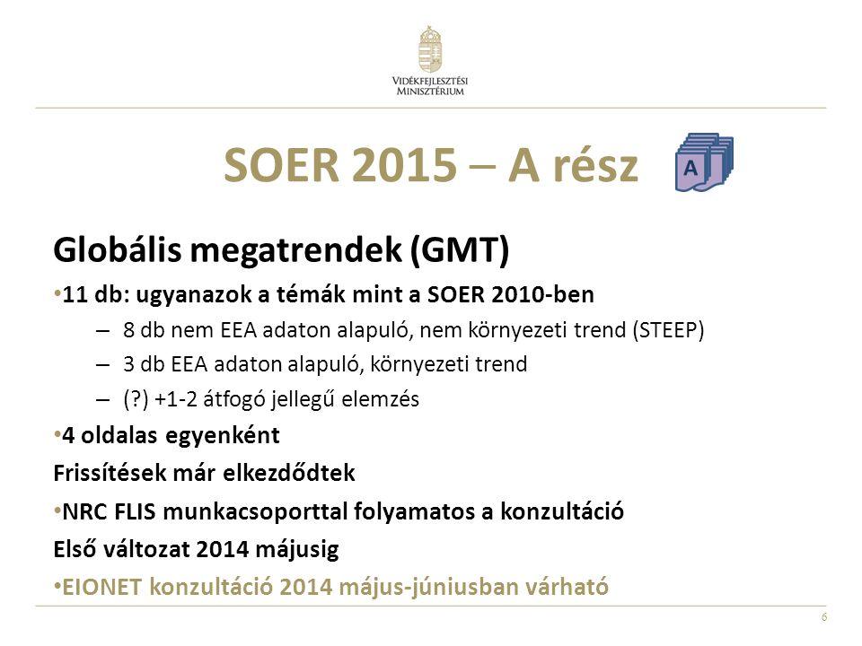 7 SOER 2015 – B rész → 4 oldalas egyenként Első változat 2014 márciusra EIONET konzultáció 2014 március-áprilisban várható B Összefoglaló – ½ oldal Uniós szakpolitikai kontextus – ½ oldal Jelenlegi helyzet, trendek, kilátások – 1 oldal Egy kulcs indikátor – ½ oldal Tevékenységek (sikerek, kihívások) – ½ oldal Egyéb környezeti kihívásokhoz való kapcsolódás – ½ oldal Vonatkozó EEA indikátorok és jelentések áttekintése – ½ oldal Egy tematikus egység felépítése:
