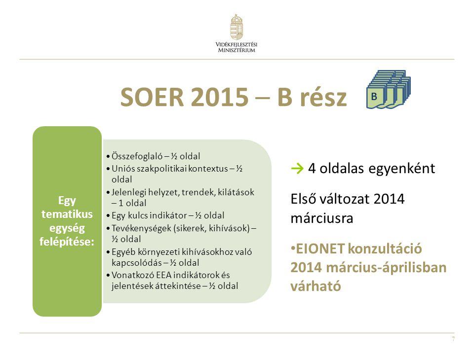 7 SOER 2015 – B rész → 4 oldalas egyenként Első változat 2014 márciusra EIONET konzultáció 2014 március-áprilisban várható B Összefoglaló – ½ oldal Un