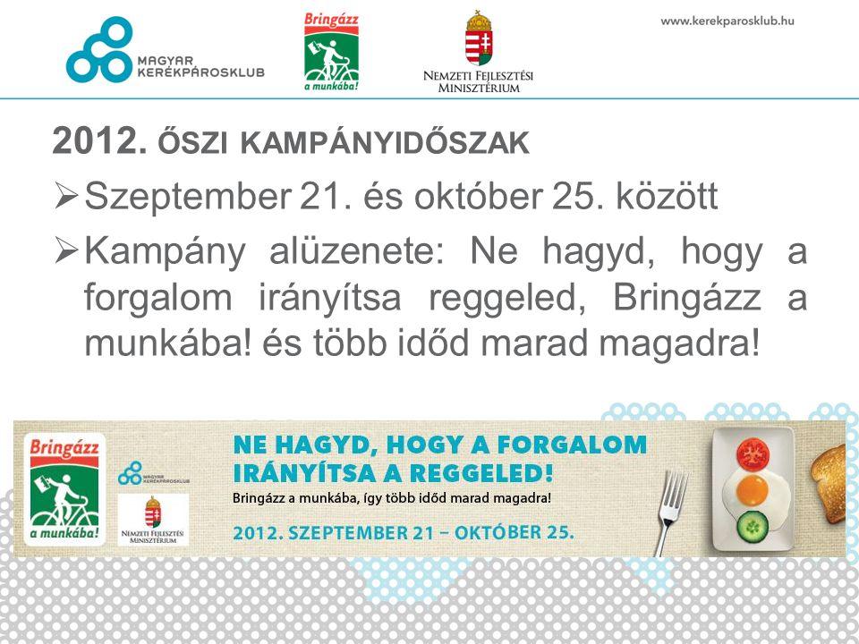 2012. ŐSZI KAMPÁNYIDŐSZAK  Szeptember 21. és október 25. között  Kampány alüzenete: Ne hagyd, hogy a forgalom irányítsa reggeled, Bringázz a munkába