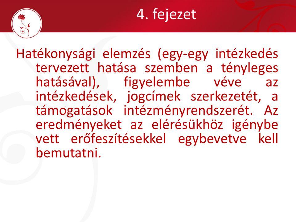 4. fejezet Hatékonysági elemzés (egy-egy intézkedés tervezett hatása szemben a tényleges hatásával), figyelembe véve az intézkedések, jogcímek szerkez