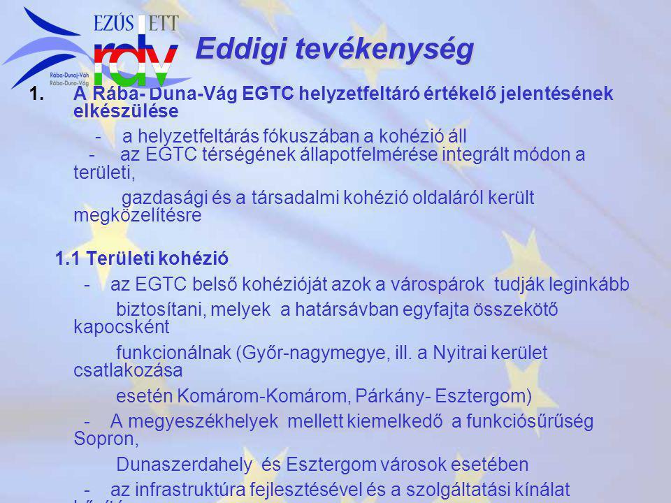 Eddigi tevékenység 1. 1.A Rába- Duna-Vág EGTC helyzetfeltáró értékelő jelentésének elkészülése - a helyzetfeltárás fókuszában a kohézió áll - az EGTC