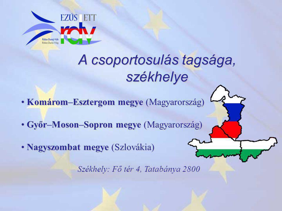 A csoportosulás tagsága, székhelye Komárom–Esztergom megye (Magyarország) Komárom–Esztergom megye (Magyarország) Győr–Moson–Sopron megye (Magyarország