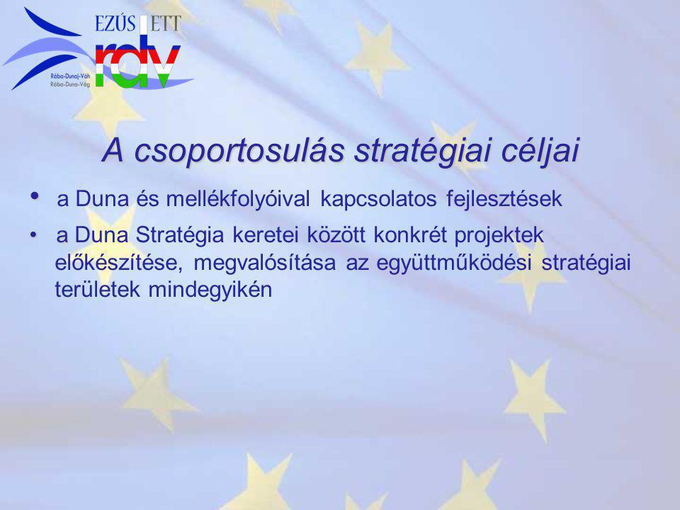 A csoportosulás stratégiai céljai a Duna és mellékfolyóival kapcsolatos fejlesztések a a Duna Stratégia keretei között konkrét projektek előkészítése, megvalósítása az együttműködési stratégiai területek mindegyikén