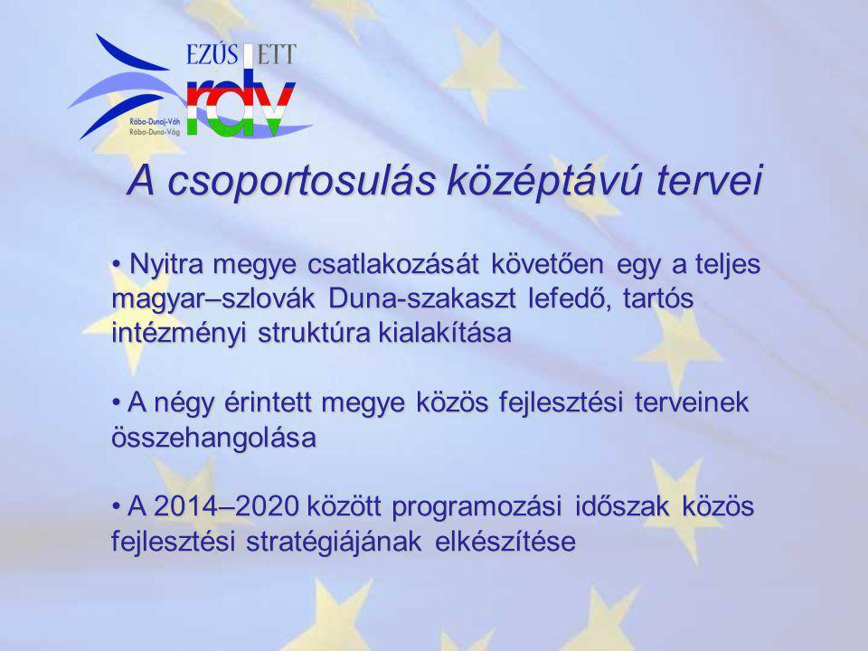 A csoportosulás középtávú tervei Nyitra megye csatlakozását követően egy a teljes magyar–szlovák Duna-szakaszt lefedő, tartós intézményi struktúra kia