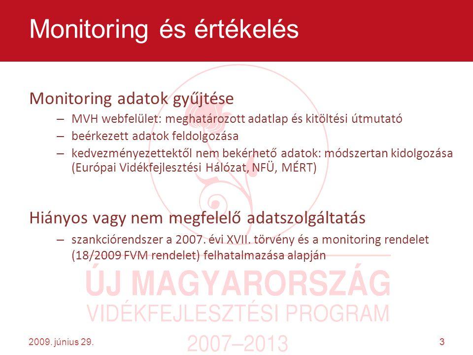 3 Monitoring adatok gyűjtése – MVH webfelület: meghatározott adatlap és kitöltési útmutató – beérkezett adatok feldolgozása – kedvezményezettektől nem bekérhető adatok: módszertan kidolgozása (Európai Vidékfejlesztési Hálózat, NFÜ, MÉRT) Hiányos vagy nem megfelelő adatszolgáltatás – szankciórendszer a 2007.