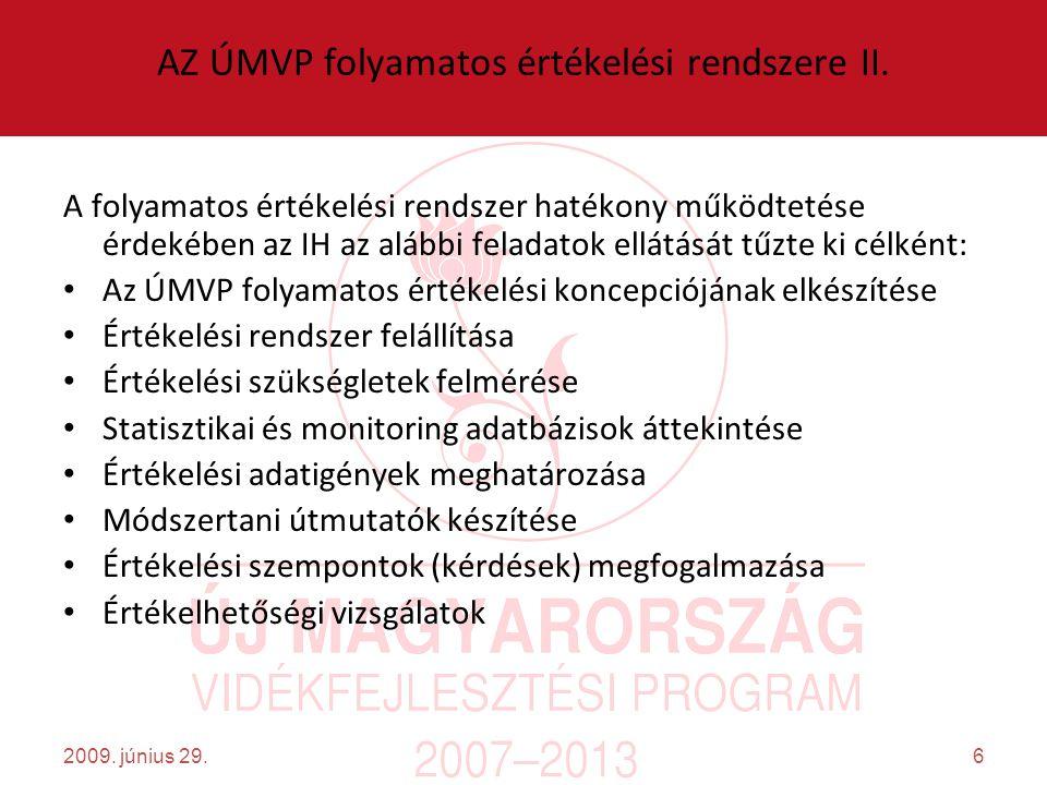 6 AZ ÚMVP folyamatos értékelési rendszere II.