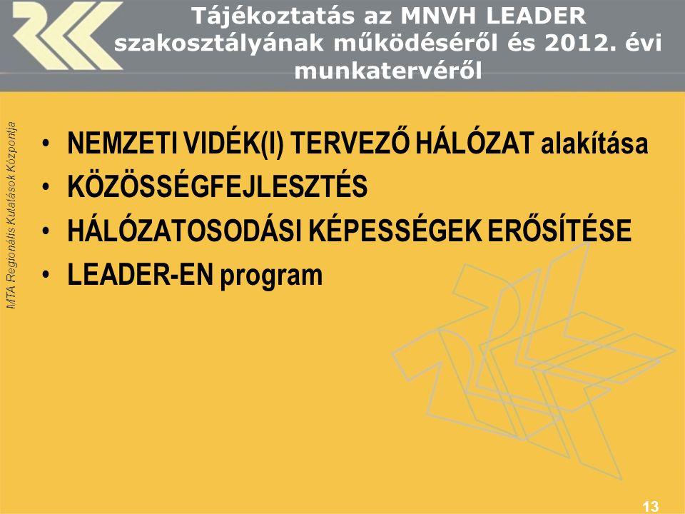 MTA Regionális Kutatások Központja Tájékoztatás az MNVH LEADER szakosztályának működéséről és 2012. évi munkatervéről NEMZETI VIDÉK(I) TERVEZŐ HÁLÓZAT