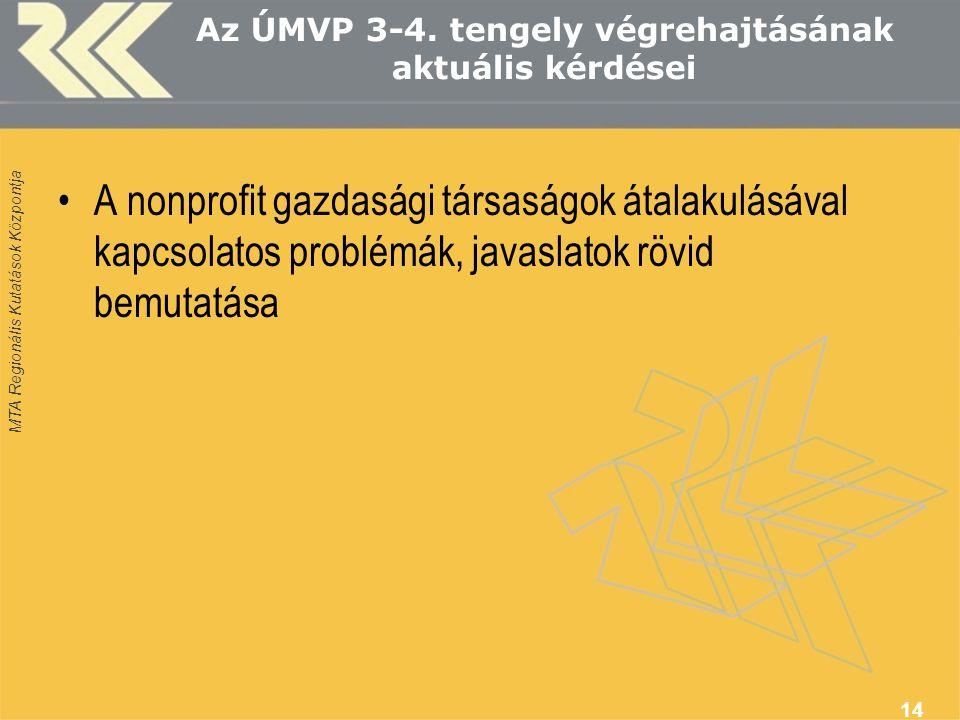 MTA Regionális Kutatások Központja Az ÚMVP 3-4.