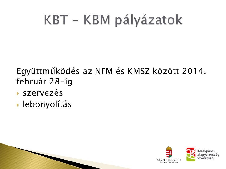 Együttműködés az NFM és KMSZ között 2014. február 28-ig  szervezés  lebonyolítás