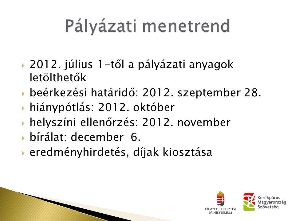  2012. július 1-től a pályázati anyagok letölthetők  beérkezési határidő: 2012. szeptember 28.  hiánypótlás: 2012. október  helyszíni ellenőrzés:
