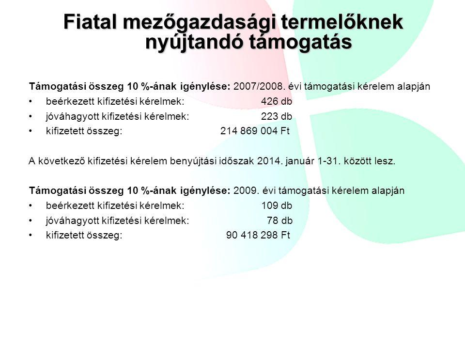 Fiatal mezőgazdasági termelőknek nyújtandó támogatás Támogatási összeg 10 %-ának igénylése: 2007/2008. évi támogatási kérelem alapján beérkezett kifiz