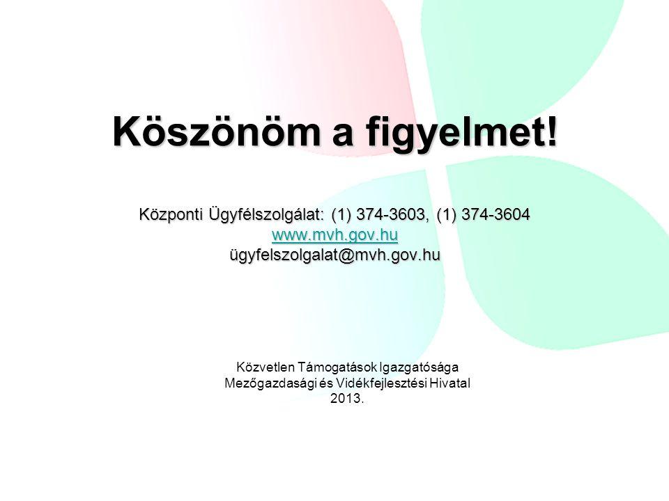 Köszönöm a figyelmet! Központi Ügyfélszolgálat: (1) 374-3603, (1) 374-3604 www.mvh.gov.hu ügyfelszolgalat@mvh.gov.hu www.mvh.gov.hu Közvetlen Támogatá