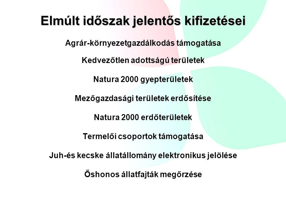 Elmúlt időszak jelentős kifizetései Agrár-környezetgazdálkodás támogatása Kedvezőtlen adottságú területek Natura 2000 gyepterületek Mezőgazdasági területek erdősítése Natura 2000 erdőterületek Termelői csoportok támogatása Juh-és kecske állatállomány elektronikus jelölése Őshonos állatfajták megőrzése
