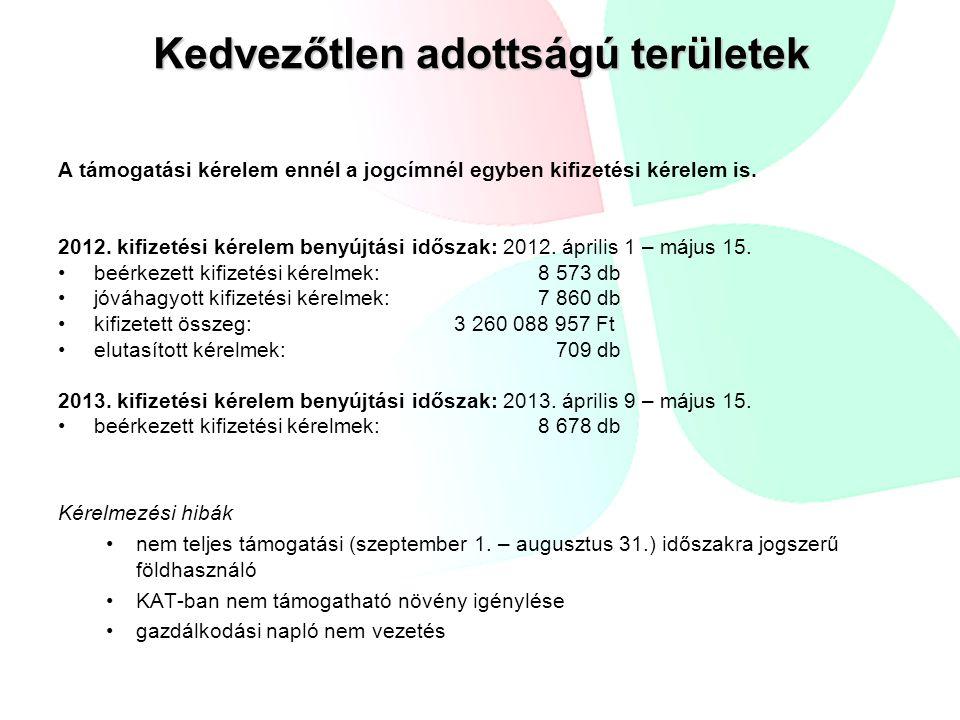 Kifizetési kérelem benyújtása: a támogatási kérelemnek helyt adó határozat kézhezvételétől számított 90 napon belül beérkezett kifizetési kérelem: 91 db jóváhagyott kifizetési kérelem: 14 db elutasított kifizetési kérelem: 46 db kifizetett összeg: 2 273 600 Ft Elutasítás főbb indokai: az ügyfél nem adott át minden támogatás alapjául szolgáló területet; a kifizetési kérelem benyújtása után újabb támogatási kérelem benyújtása.
