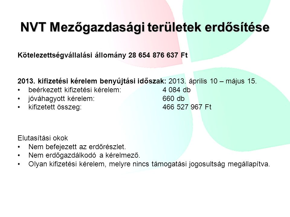 NVT Mezőgazdasági területek erdősítése Kötelezettségvállalási állomány 28 654 876 637 Ft 2013. kifizetési kérelem benyújtási időszak: 2013. április 10