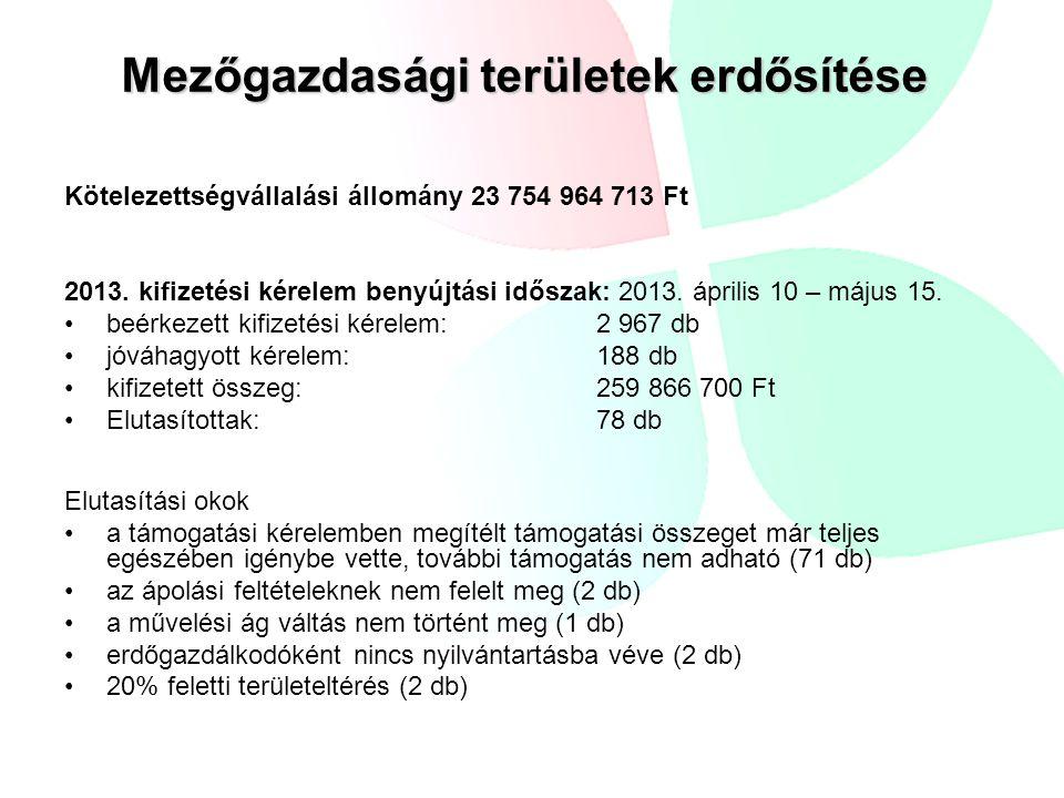 Mezőgazdasági területek erdősítése Kötelezettségvállalási állomány 23 754 964 713 Ft 2013. kifizetési kérelem benyújtási időszak: 2013. április 10 – m