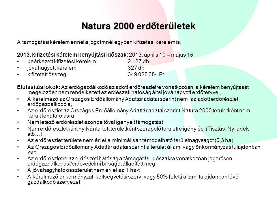 Natura 2000 erdőterületek A támogatási kérelem ennél a jogcímnél egyben kifizetési kérelem is. 2013. kifizetési kérelem benyújtási időszak: 2013. ápri