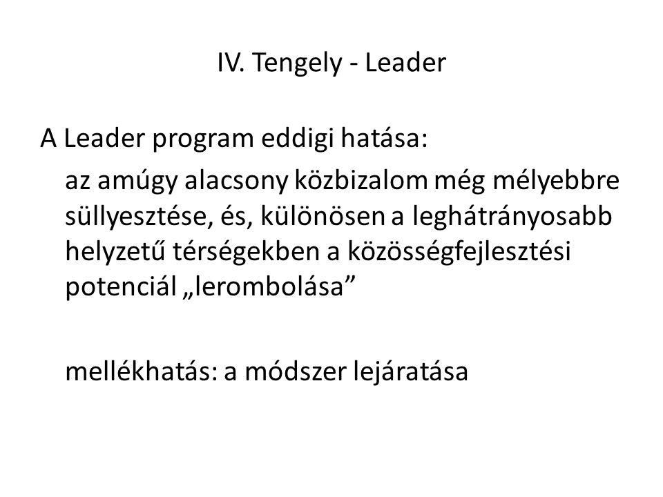 IV. Tengely - Leader A Leader program eddigi hatása: az amúgy alacsony közbizalom még mélyebbre süllyesztése, és, különösen a leghátrányosabb helyzetű