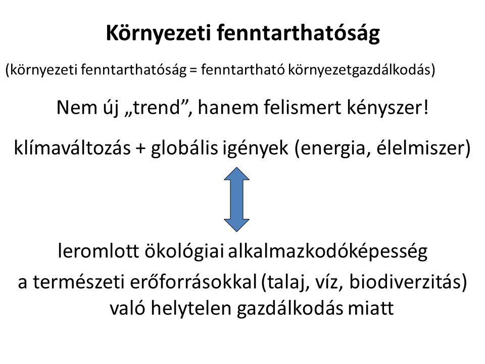 """Környezeti fenntarthatóság (környezeti fenntarthatóság = fenntartható környezetgazdálkodás) Nem új """"trend , hanem felismert kényszer."""