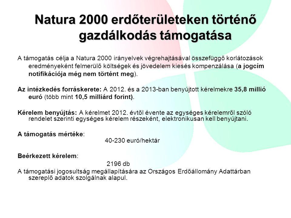 Natura 2000 erdőterületeken történő gazdálkodás támogatása A támogatás célja a Natura 2000 irányelvek végrehajtásával összefüggő korlátozások eredményeként felmerülő költségek és jövedelem kiesés kompenzálása (a jogcím notifikációja még nem történt meg).