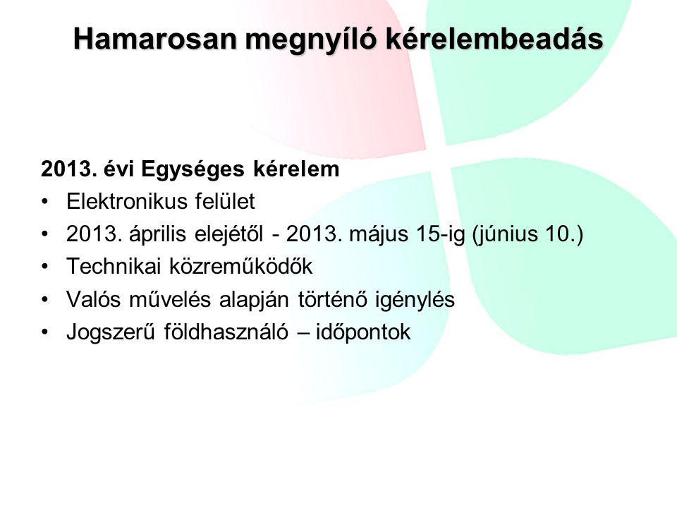 Hamarosan megnyíló kérelembeadás 2013. évi Egységes kérelem Elektronikus felület 2013.