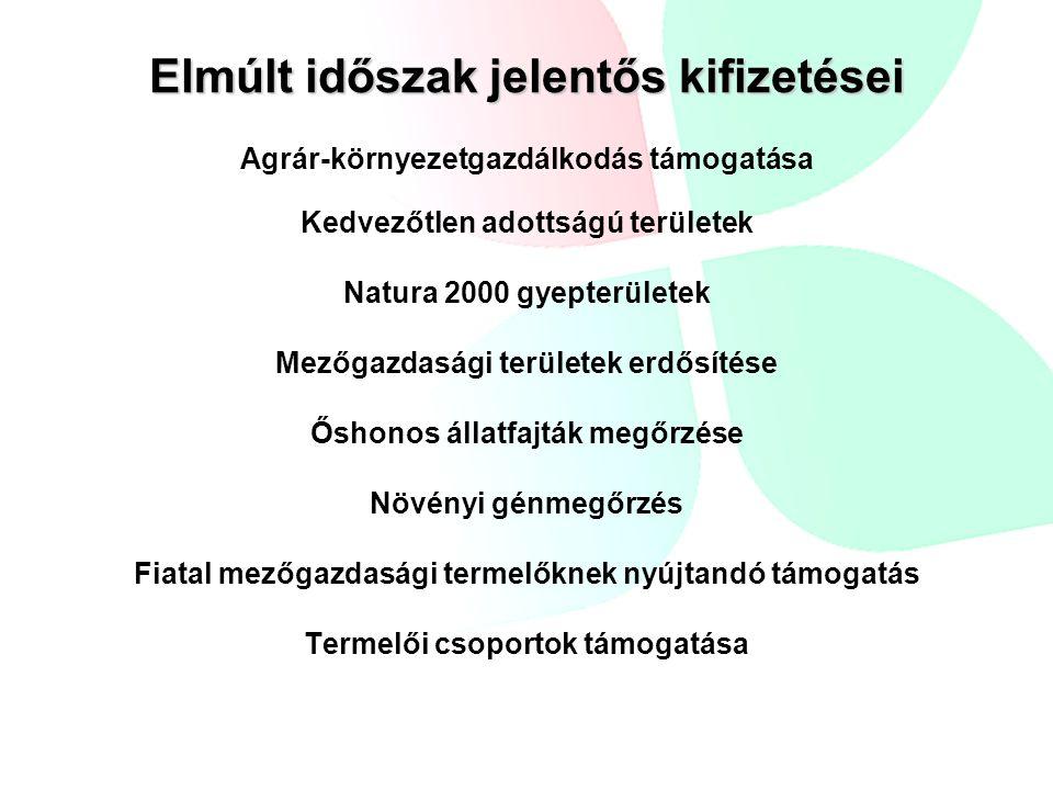 Elmúlt időszak jelentős kifizetései Agrár-környezetgazdálkodás támogatása Kedvezőtlen adottságú területek Natura 2000 gyepterületek Mezőgazdasági területek erdősítése Őshonos állatfajták megőrzése Növényi génmegőrzés Fiatal mezőgazdasági termelőknek nyújtandó támogatás Termelői csoportok támogatása