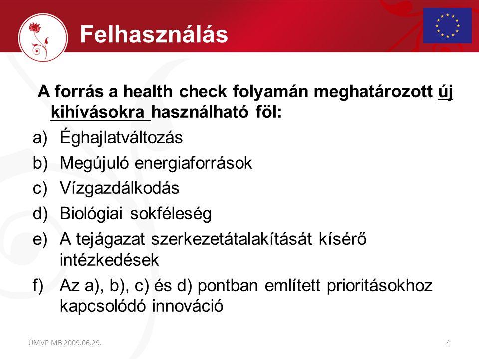 A forrás a health check folyamán meghatározott új kihívásokra használható föl: a)Éghajlatváltozás b)Megújuló energiaforrások c)Vízgazdálkodás d)Biológ
