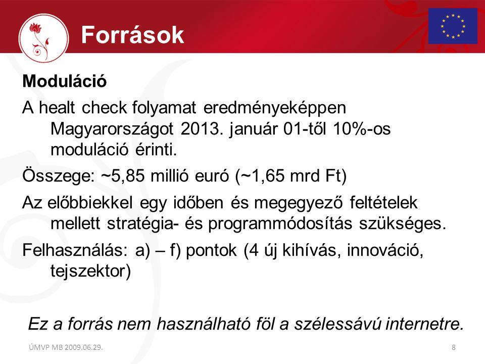Moduláció A healt check folyamat eredményeképpen Magyarországot 2013. január 01-től 10%-os moduláció érinti. Összege: ~5,85 millió euró (~1,65 mrd Ft)
