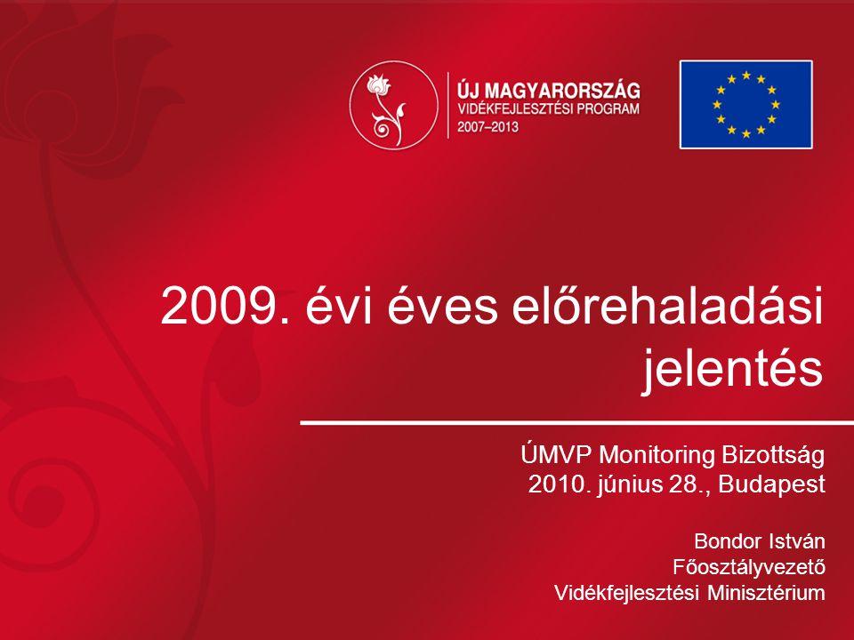 2009. évi éves előrehaladási jelentés ÚMVP Monitoring Bizottság 2010. június 28., Budapest Bondor István Főosztályvezető Vidékfejlesztési Minisztérium