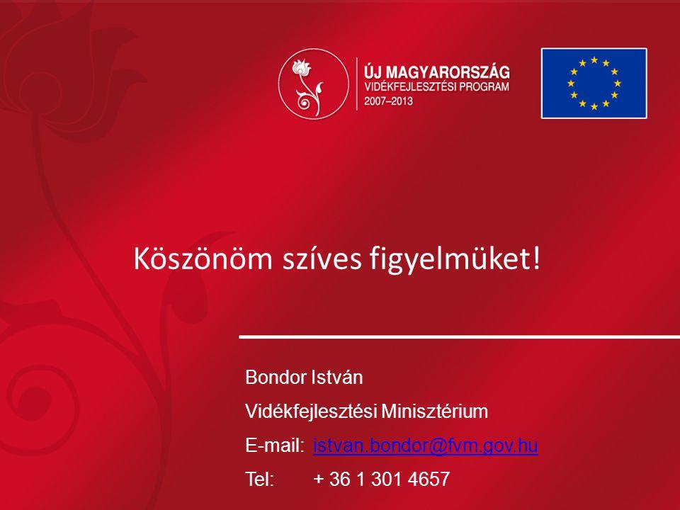 Köszönöm szíves figyelmüket! Bondor István Vidékfejlesztési Minisztérium E-mail:istvan.bondor@fvm.gov.huistvan.bondor@fvm.gov.hu Tel: + 36 1 301 4657