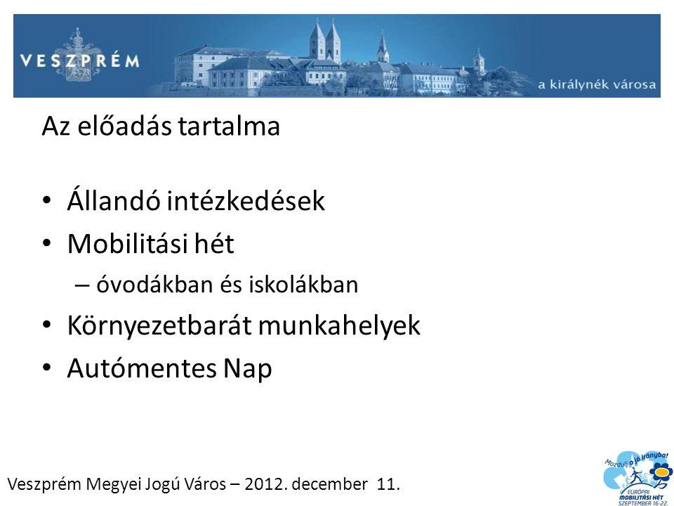 Az előadás tartalma Állandó intézkedések Mobilitási hét – óvodákban és iskolákban Környezetbarát munkahelyek Autómentes Nap