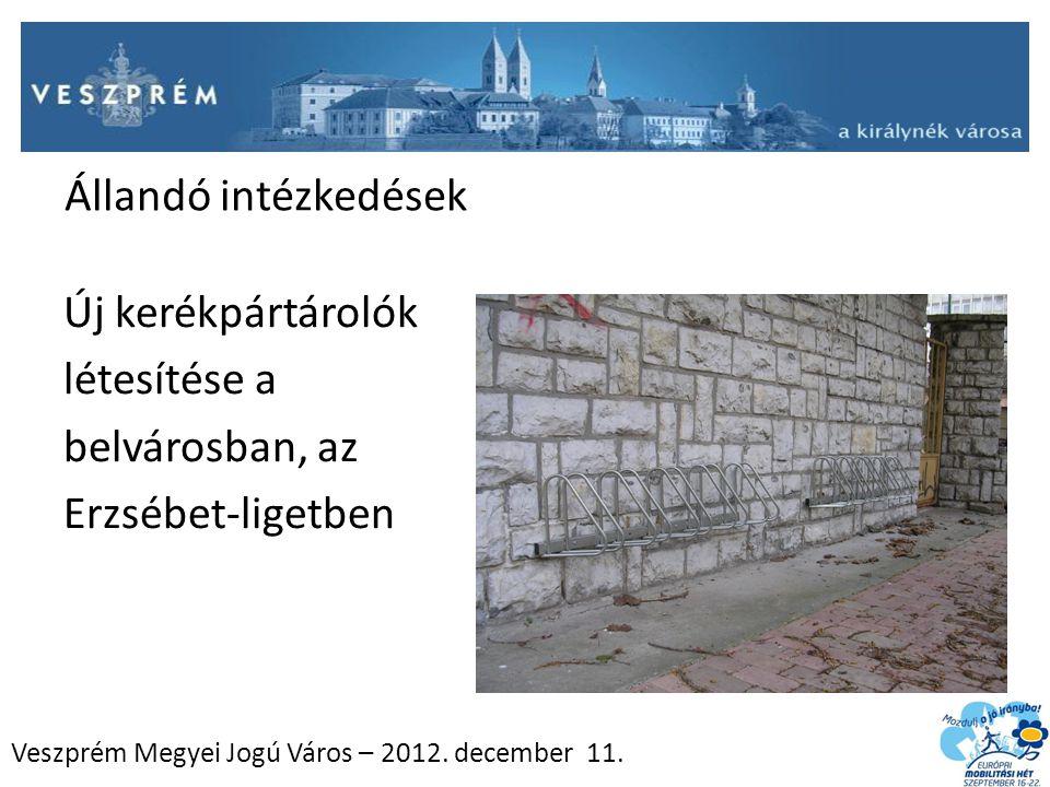 Veszprém Megyei Jogú Város – 2012. december 11. Állandó intézkedések Új kerékpártárolók létesítése a belvárosban, az Erzsébet-ligetben