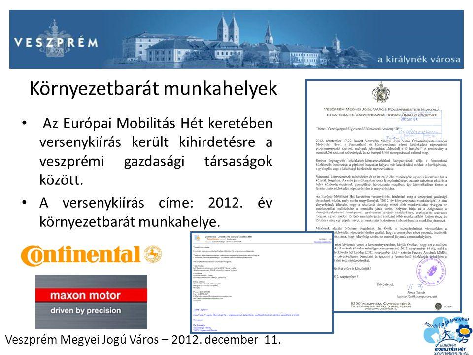 Veszprém Megyei Jogú Város – 2012. december 11. Környezetbarát munkahelyek Az Európai Mobilitás Hét keretében versenykiírás került kihirdetésre a vesz