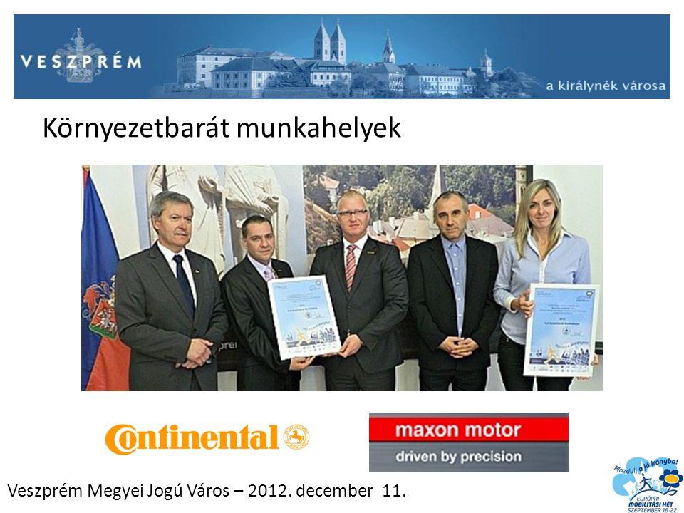 Veszprém Megyei Jogú Város – 2012. december 11. Környezetbarát munkahelyek