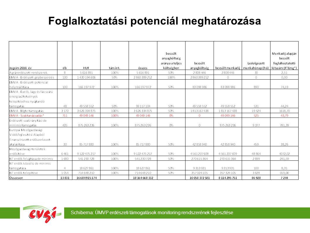 Schiberna: ÚMVP erdészeti támogatások monitoring rendszerének fejlesztése Foglalkoztatási potenciál meghatározása