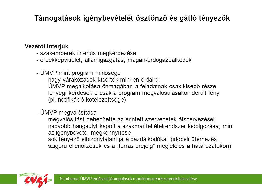 Schiberna: ÚMVP erdészeti támogatások monitoring rendszerének fejlesztése Támogatások igénybevételét ösztönző és gátló tényezők Vezetői interjúk - MgTE egységárak csökkenése majd emelése, támogatási időszak rövidülése nehezen követhető változások a jogcím erős versenyben van a földalapú támogatásokkal - EKV nagyon sok alprogramot tartalmaz nehezen látható előre, hogy a gazdálkodók milyen kockázatokat vállalnak most - NATURA 2000 sokáig nem volt megegyezés a feltételekről, végül kiderült, hogy a jelenlegi feltételekkel sokkal korábban is elindítható lett volna - Erd.
