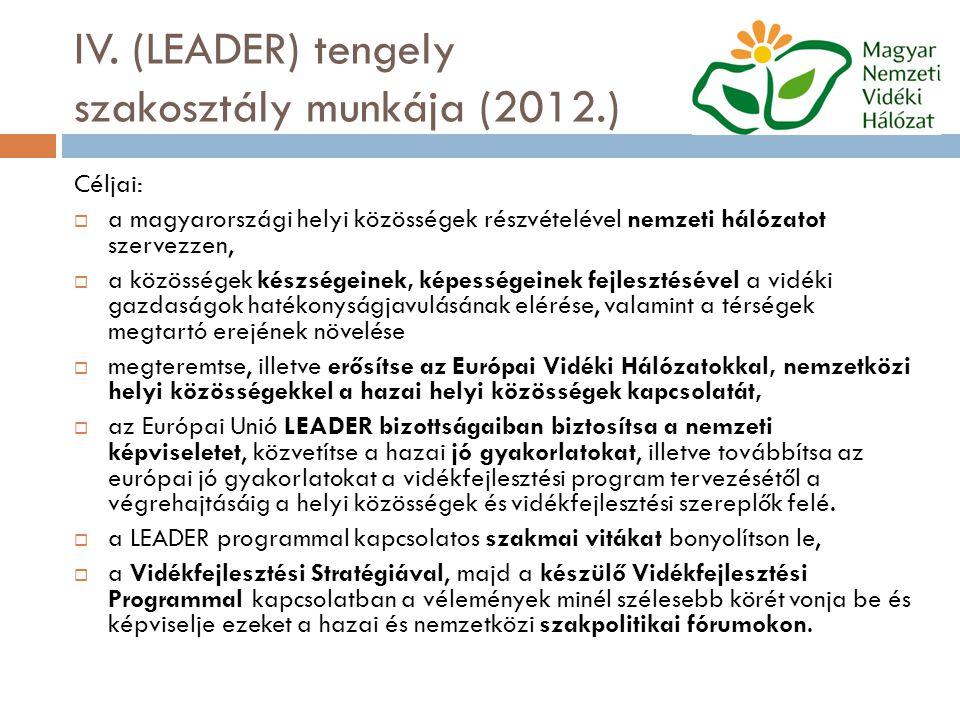 IV. (LEADER) tengely szakosztály munkája (2012.) Céljai:  a magyarországi helyi közösségek részvételével nemzeti hálózatot szervezzen,  a közösségek