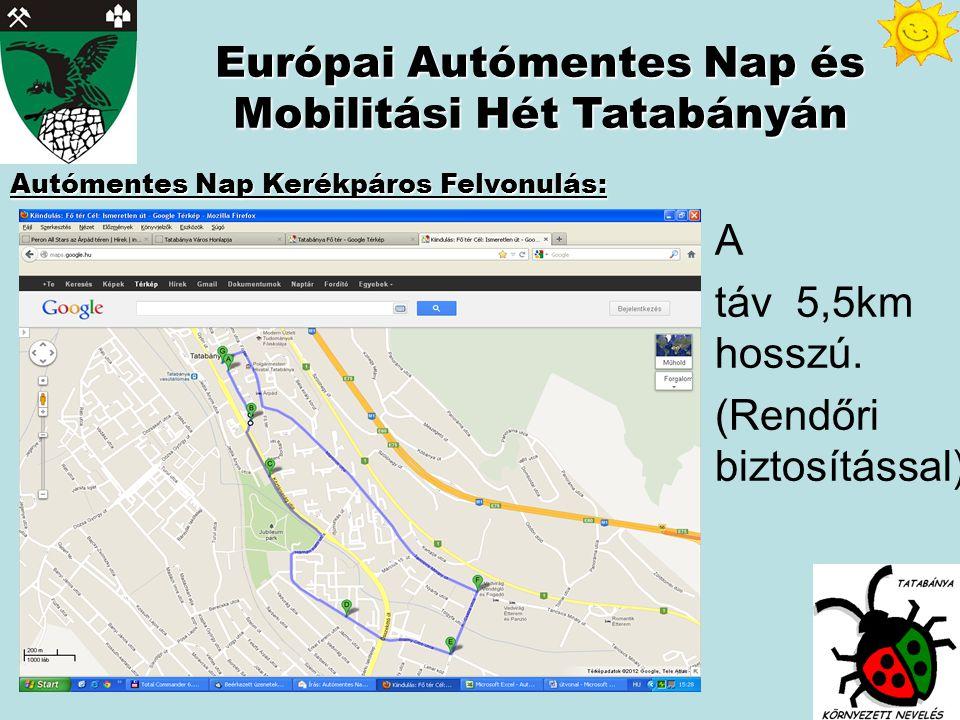 Autómentes Nap Kerékpáros Felvonulás: Európai Autómentes Nap és Mobilitási Hét Tatabányán A táv 5,5km hosszú.