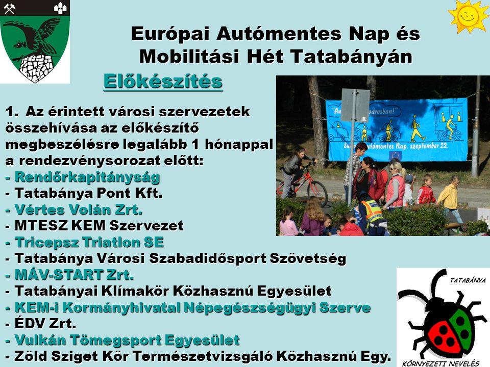 Európai Autómentes Nap és Mobilitási Hét Tatabányán Előkészítés 1.Az érintett városi szervezetek összehívása az előkészítő megbeszélésre legalább 1 hónappal a rendezvénysorozat előtt: - Rendőrkapitányság - Tatabánya Pont Kft.
