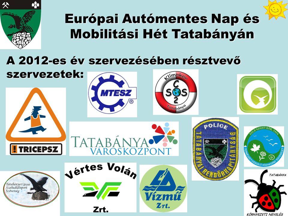 A 2012-es év szervezésében résztvevő szervezetek: Európai Autómentes Nap és Mobilitási Hét Tatabányán