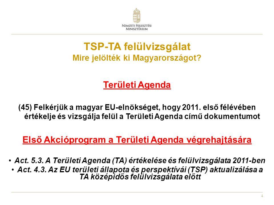 4 TSP-TA felülvizsgálat Mire jelölték ki Magyarországot? Területi Agenda (45) Felkérjük a magyar EU-elnökséget, hogy 2011. első félévében értékelje és