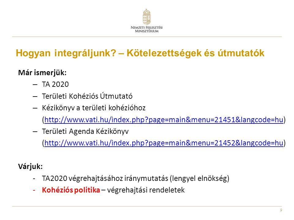 9 Már ismerjük: – TA 2020 – Területi Kohéziós Útmutató – Kézikönyv a területi kohézióhoz (http://www.vati.hu/index.php?page=main&menu=21451&langcode=h
