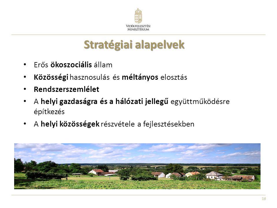 16 Erős ökoszociális állam Közösségi hasznosulás és méltányos elosztás Rendszerszemlélet A helyi gazdaságra és a hálózati jellegű együttműködésre építkezés A helyi közösségek részvétele a fejlesztésekben Stratégiai alapelvek