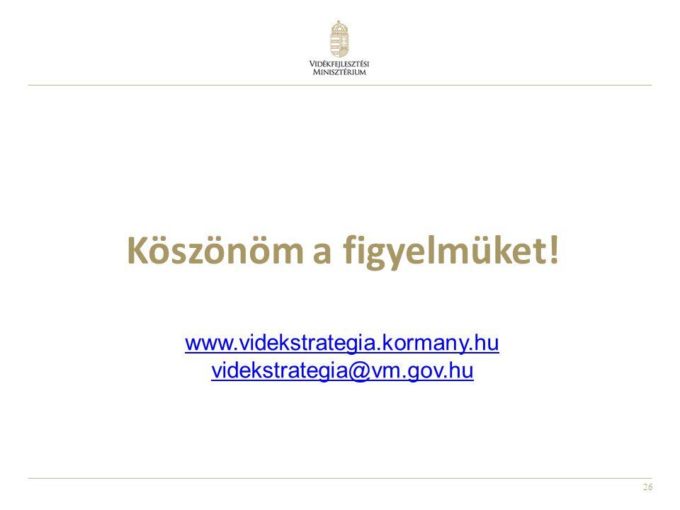 26 Köszönöm a figyelmüket! www.videkstrategia.kormany.hu videkstrategia@vm.gov.hu
