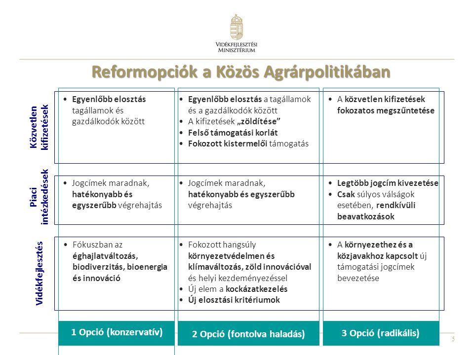 """5 Reformopciók a Közös Agrárpolitikában Közvetlen kifizetések Egyenlőbb elosztás tagállamok és gazdálkodók között Egyenlőbb elosztás a tagállamok és a gazdálkodók között A kifizetések """"zöldítése Felső támogatási korlát Fokozott kistermelői támogatás A közvetlen kifizetések fokozatos megszűntetése Piaci intézkedések Jogcímek maradnak, hatékonyabb és egyszerűbb végrehajtás Legtöbb jogcím kivezetése Csak súlyos válságok esetében, rendkívüli beavatkozások Vidékfejlesztés Fókuszban az éghajlatváltozás, biodiverzitás, bioenergia és innováció Fokozott hangsúly környezetvédelmen és klímaváltozás, zöld innovációval és helyi kezdeményezéssel Új elem a kockázatkezelés Új elosztási kritériumok A környezethez és a közjavakhoz kapcsolt új támogatási jogcímek bevezetése 1 Opció (konzervatív) 2 Opció (fontolva haladás) 3 Opció (radikális)"""