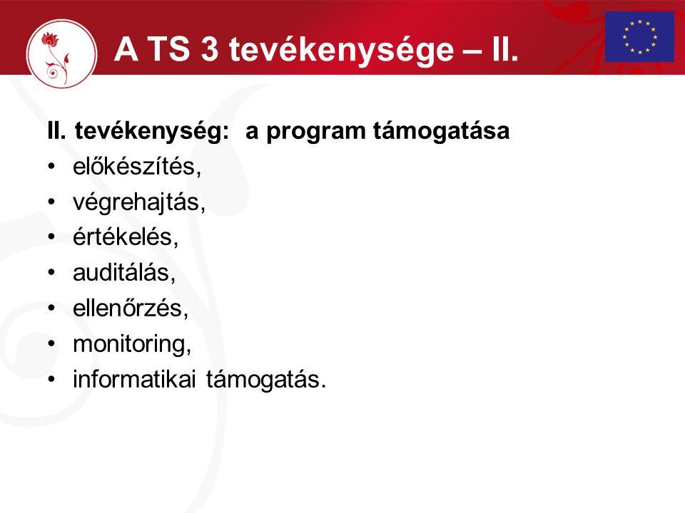 II. tevékenység: a program támogatása előkészítés, végrehajtás, értékelés, auditálás, ellenőrzés, monitoring, informatikai támogatás. A TS 3 tevékenys