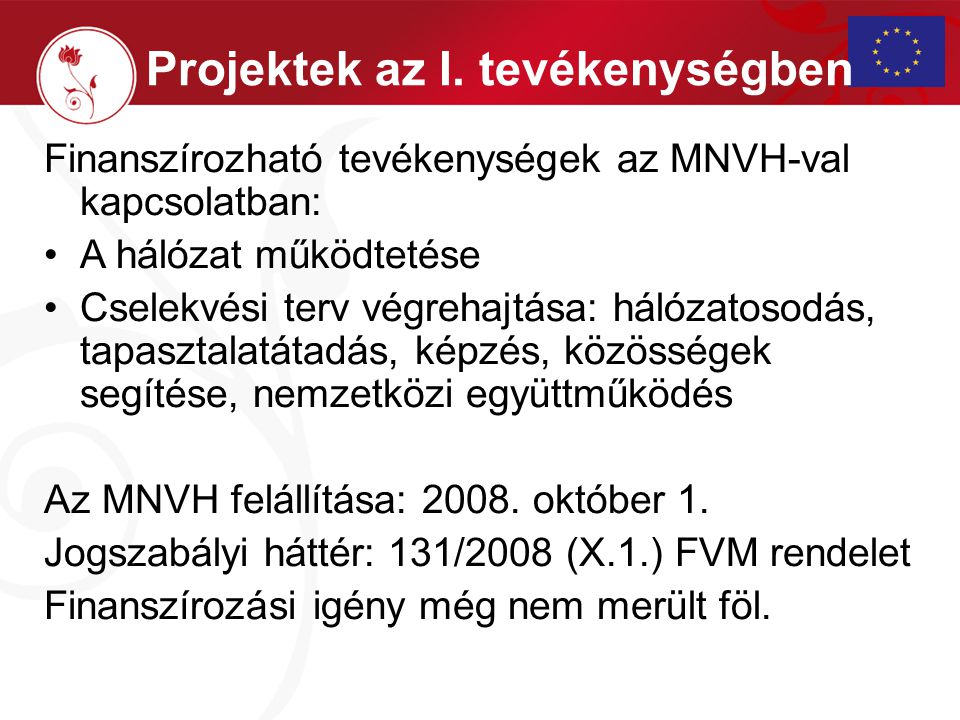 Finanszírozható tevékenységek az MNVH-val kapcsolatban: A hálózat működtetése Cselekvési terv végrehajtása: hálózatosodás, tapasztalatátadás, képzés, közösségek segítése, nemzetközi együttműködés Az MNVH felállítása: 2008.