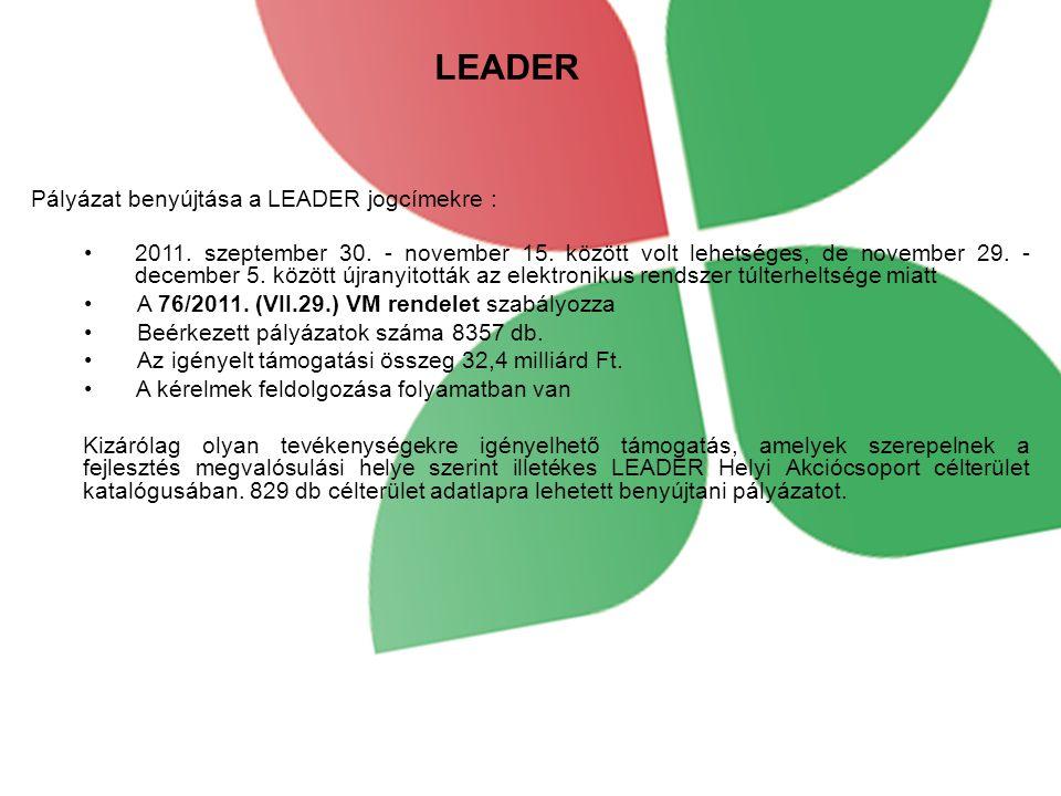 LEADER Pályázat benyújtása a LEADER jogcímekre : 2011.